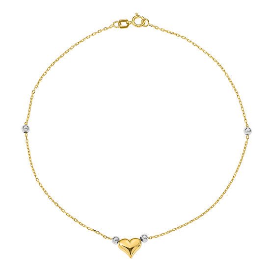 14K Two Tone Gold 10 Inch Solid Bead Heart Ankle Bracelet