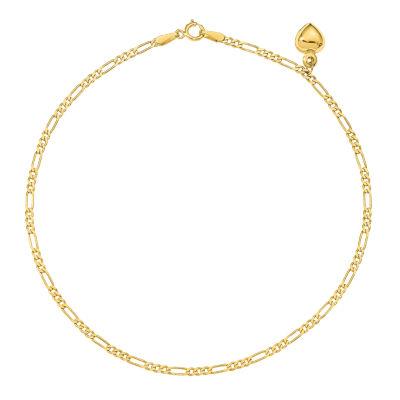 14K Gold 10 Inch Solid Figaro Heart Ankle Bracelet