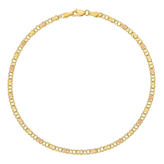 14K Two Tone Gold 10 Inch Solid Link Heart Ankle Bracelet