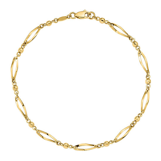 14K Gold 9 Inch Semisolid Ankle Bracelet