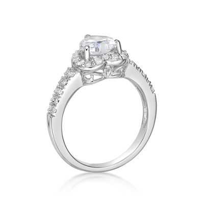 Diamonart Womens 1 3/4 CT. T.W. White Cubic Zirconia Sterling Silver Cocktail Ring