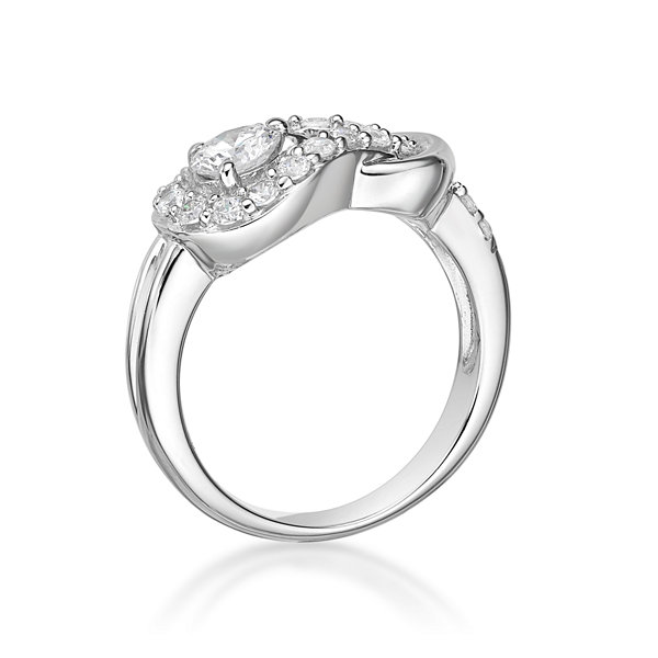 Diamonart Womens 7/8 CT. T.W. White Cubic Zirconia Sterling Silver Cocktail Ring