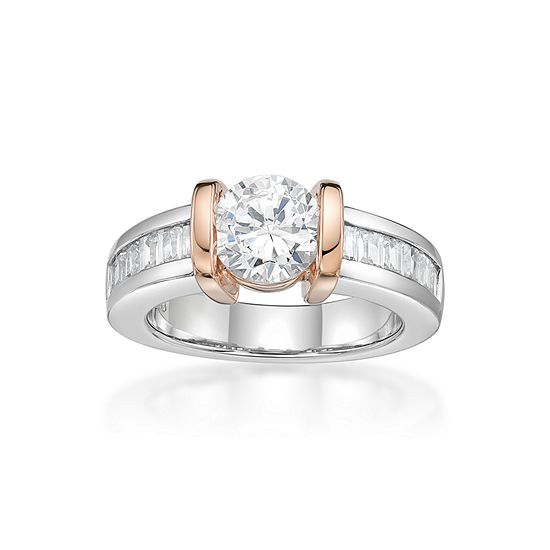 DiamonArt® Womens 1 7/8 CT. T.W. White Cubic Zirconia 14K Gold Over Silver Cocktail Ring