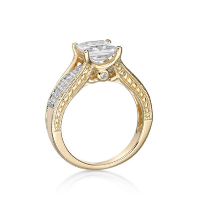 Diamonart Womens 2 1/3 CT. T.W. White Cubic Zirconia 14K Gold Over Silver Cocktail Ring