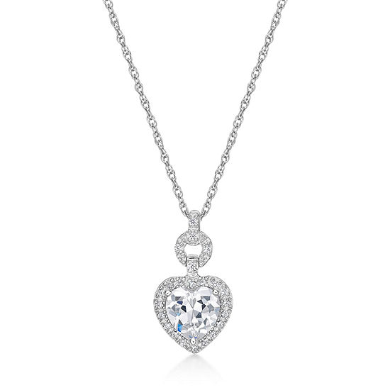 DiamonArt® Womens 1 5/8 CT. T.W. White Cubic Zirconia Sterling Silver Heart Pendant Necklace