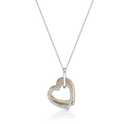 Diamonart Womens 1/5 CT. T.W. White Cubic Zirconia 14K Gold Over Silver Pendant Necklace