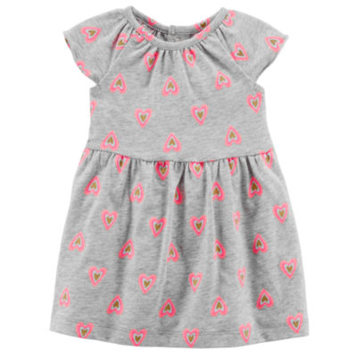Carters Short Sleeve Gray Heart Fit and Flare Dress - Baby Girl NB-24M