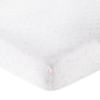 Okie Dokie Pink Bow Crib Sheet - Baby Girl