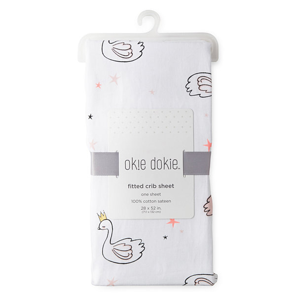 Okie Dokie Swan Crib Sheet - Baby Girl