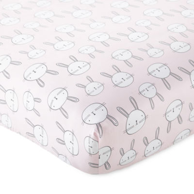 Okie Dokie Pink Bunny Crib Sheet - Baby Girl