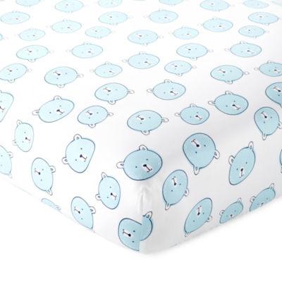 Okie Dokie Blue Bear Crib Sheet - Baby