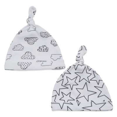 Okie Dokie White & Black Cloud 2 Pack Hat - Baby