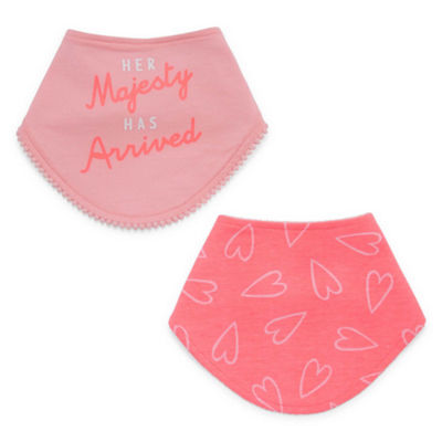 Okie Dokie Coral Heart 2 Pack Bib - Baby Girl