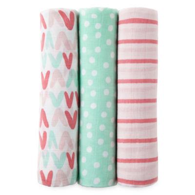 Okie Dokie Pink & Aqua 3 Pack Swaddle Blanket - Baby Girl