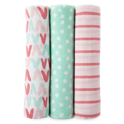 Okie Dokie Heart, Polka Dot, and Stripe 3 Pack Swaddle Blanket - Baby Girl