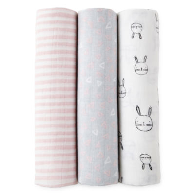 Okie Dokie Pink Bunny 3 Pack Swaddle Blanket - Baby Girl