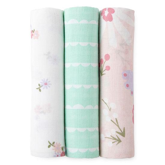 Okie Dokie Floral 3 Pack Swaddle Blanket Baby Girl