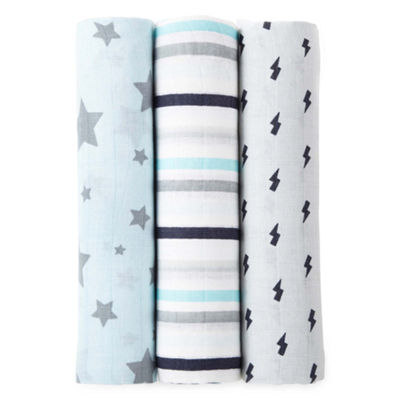 Okie Dokie Blue Star 3 Pack Swaddle Blanket - Baby Boy
