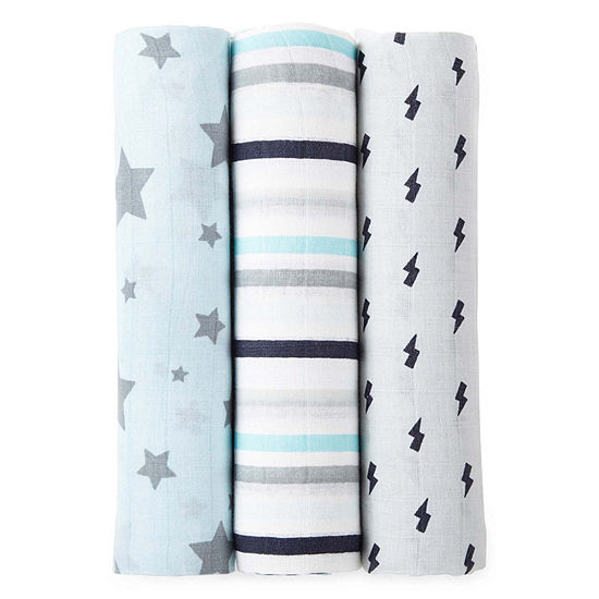 Okie Dokie Blue Star 3 Pack Swaddle Blanket - Baby Boy