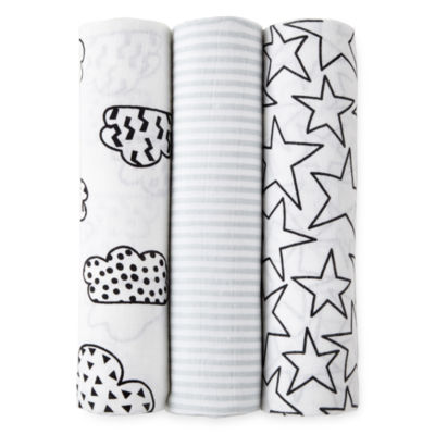 Okie Dokie Black & White Cloud 3 Pack Swaddle Blanket - Baby