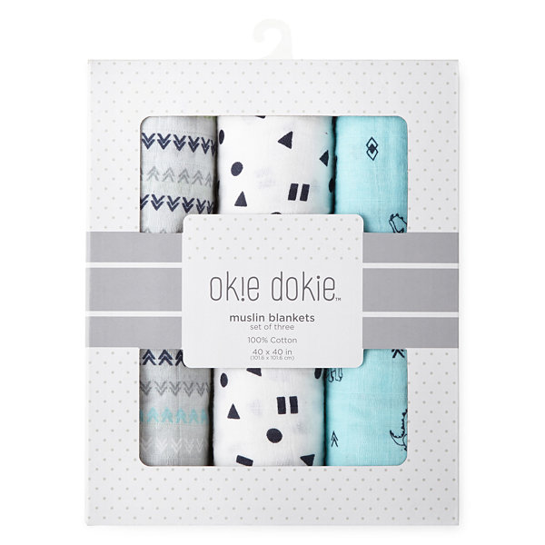 Okie Dokie Dinosaur 3 Pack Swaddle Blanket - Baby Boy