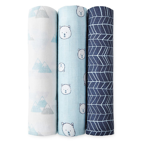 Okie Dokie Blue Bear 3 Pack Swaddle Blanket - Baby Boy