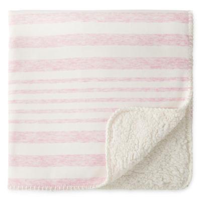 Okie Dokie Pink Stripe Jersey Baby Blanket
