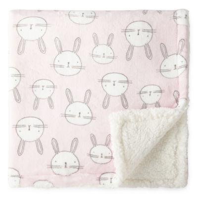 Okie Dokie Pink Bunny Plush Baby Blanket