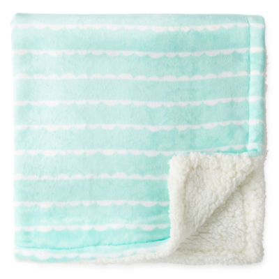 Okie Dokie Scallop Stripe Plush Baby Blanket