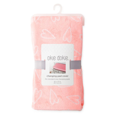 Okie Dokie Coral Heart Changing Pad Cover - Baby Girl