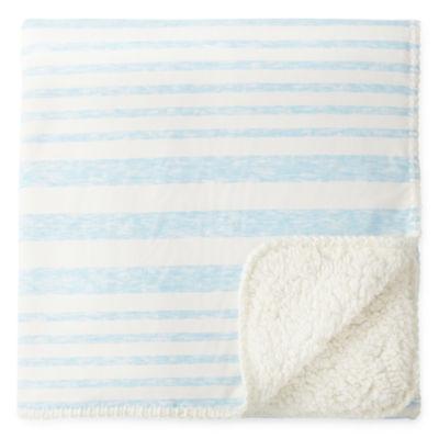 Okie Dokie Blue Stripe Jersey Baby Blanket