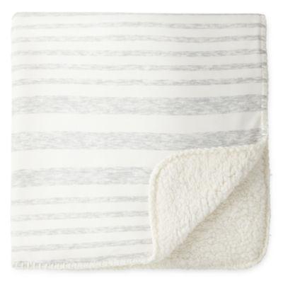 Okie Dokie Gray Stripe Jersey Baby Blanket