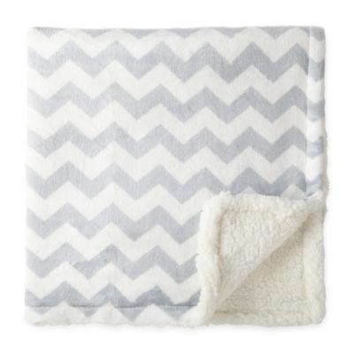 Okie Dokie Gray & White Chevron Plush Baby Blanket