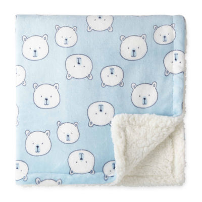 Okie Dokie Blue Bear Plush Baby Blanket