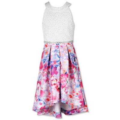 Speechless Short Sleeve Cap Sleeve Floral Maxi Dress Big Kid Girls