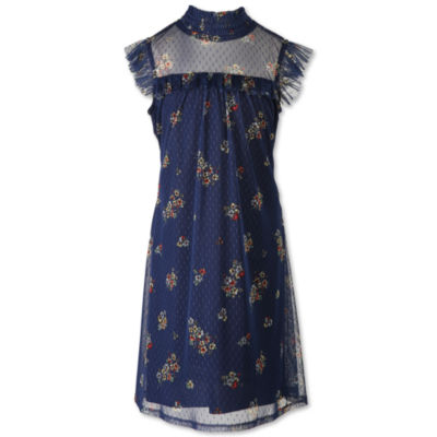 Speechless Short Sleeve Flutter Sleeve Floral A-Line Dress - Big Kid Girls