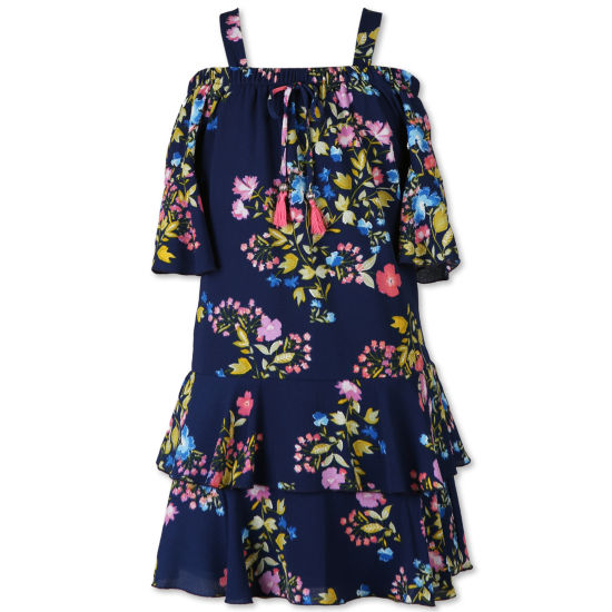 Speechless Elbow Sleeve Flutter Sleeve Fit & Flare Dress - Big Kid Girls