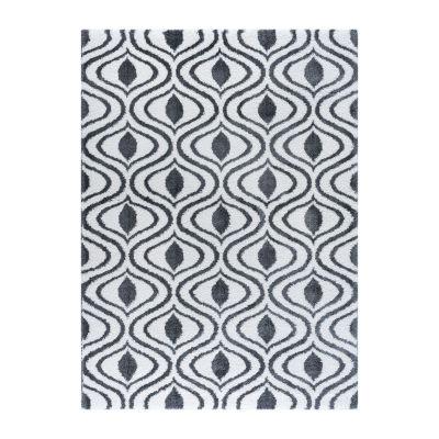 Tayse Silkati Shag Xeveria Contemporary Geometric Shag Rug