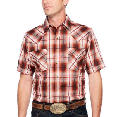 Ely Cattleman Short Sleeve Plaid Snap-Front Shirt-Tall