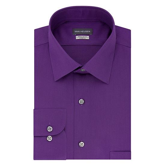 Van Heusen No Iron Lux Sateen Mens Spread Collar Long Sleeve Stretch Dress Shirt - Big and Tall