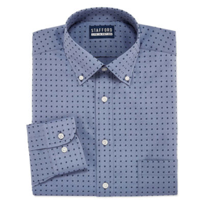 Stafford Chambray Stretch Easy-Care Long Sleeve Broadcloth Pattern Dress Shirt