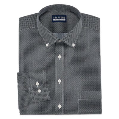 Stafford Chambray Stretch Easy-Care Broadcloth Long Sleeve Broadcloth Pattern Dress Shirt