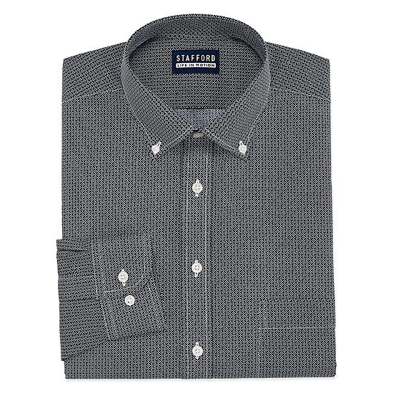 Stafford Stafford Chambray Stretch Easy-Care Broadcloth Mens Button Down Collar Long Sleeve Stretch Dress Shirt