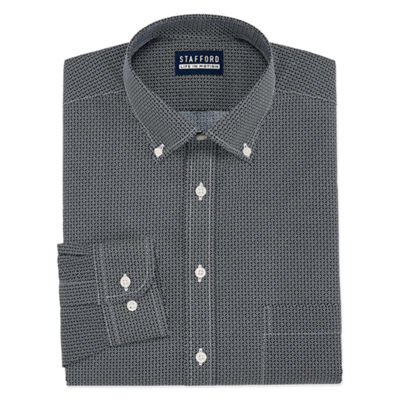 Stafford Stafford Easy-Care Broadcloth Big And Tall Long Sleeve Geo Pattern Dress Shirt