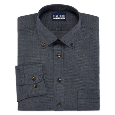 Stafford Chambray Stretch Easy-Care Broadcloth Big And Tall Long Sleeve Pattern Dress Shirt