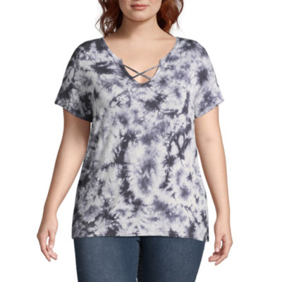 Arizona Short Sleeve Criss Cross T-Shirt- Juniors Plus