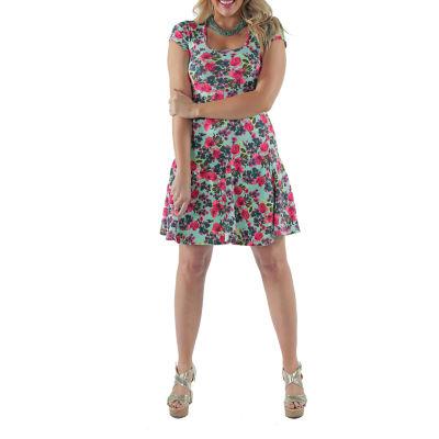 24/7 Comfort Apparel Aqua Floral Fit & Flare Dress-Plus