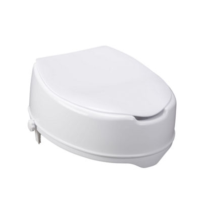 Drive Medical Raised Toilet Seat with Lock and Lid, Standard Seat, 6""