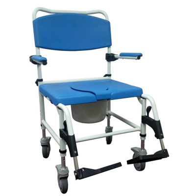 Drive Medical Aluminum Bariatric Rehab Shower Commode Chair with Two Rear-Locking Casters