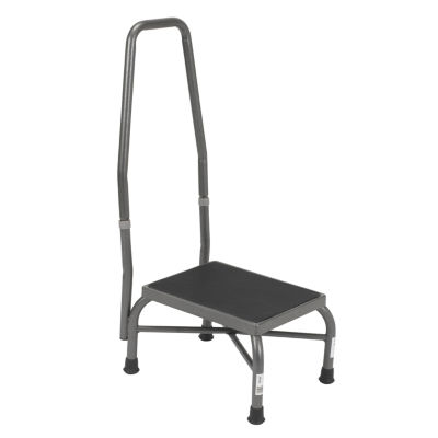 Drive Medical Heavy Duty Bariatric Footstool with Non Skid Rubber Platform and Handrail